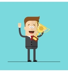 happy businessman or manager with the award in his vector image vector image