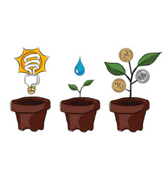 Idea planting creativity and innovation make money vector