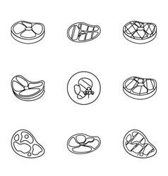 Kind of beef icons set outline style vector
