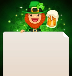 leprechaun looking at blank poster on top green vector image vector image