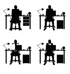 Man silhouette set with laptop and desk part two vector