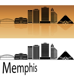 Memphis skyline in orange vector image