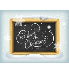 Merry Christmas lettering on blackboard vector image vector image
