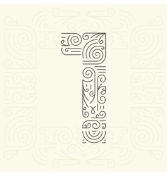 Mono line style geometric font for text vector