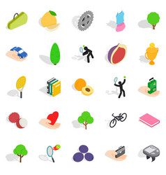 Natural stamina icons set isometric style vector
