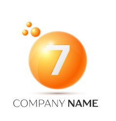 Number seven splash logo orange dots and bubbles vector