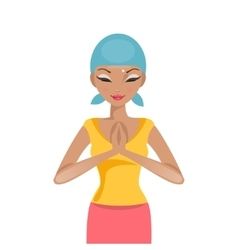 Praying woman cancer patient vector