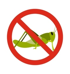 Prohibition sign grasshoppers icon flat style vector image