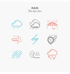 Rain downpour and more thin line color icons vector