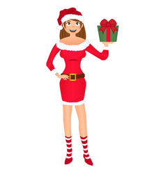 santa girl with christmas gift isolated on white vector image