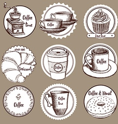 Sketch coffee labels vector image vector image