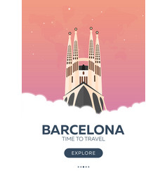 Spain barcelona time to travel travel poster vector