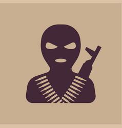 Terrorist in balaclava mask icon vector