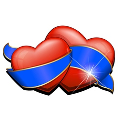 Two heart with blue ribbon vector