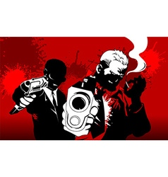 two men in a red night vector image vector image