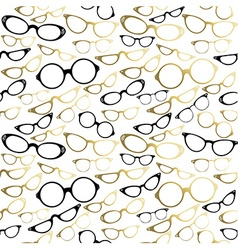 Vintage hipster glasses seamless pattern gold vector