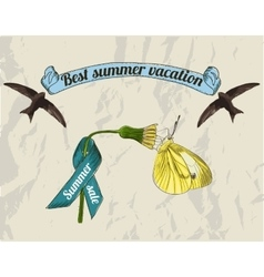 Vintage summer lebels set vector image