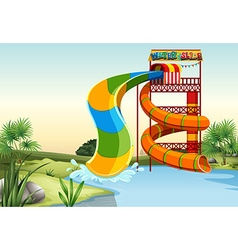 Water slide by the river vector