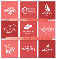 womens day typographical minimal greeting card set vector image