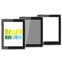 Brazil Rio 2016 Summer Games tablet pc set vector image
