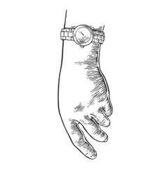Female hand with watch vector