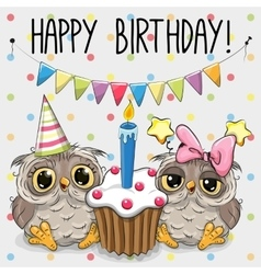 Greeting card two cute Cartoon Owl vector image