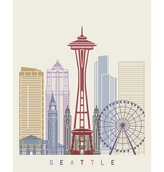 Seattle skyline poster vector