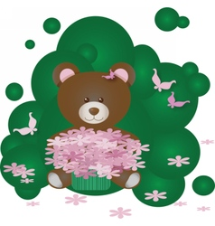 Panda bear with flowers on green vector