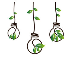 Bulb with leafs ecology symbol vector