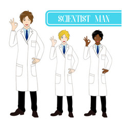 Scientist man showing ok hand sign vector