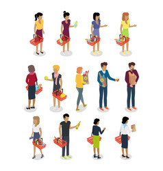 shopping people isometric characters set vector image