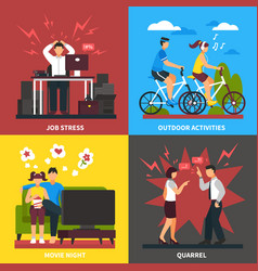 Stress and relaxation flat design concept vector