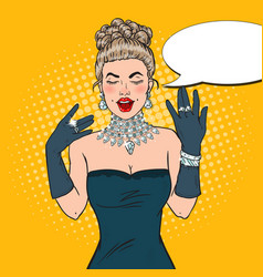 Pop art glamour woman with diamond jewelry vector