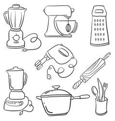 doodle kitchen set art vector image