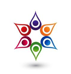 Teamwork hands up icon logo vector image