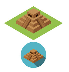 Chichen itza icons in isometric style vector