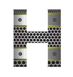 perforated metal letter H vector image