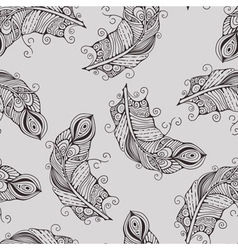 Seamless pattern with hand-drawn feathers vector