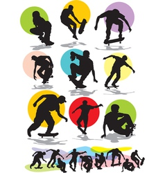 Set skaters silhouettes vector