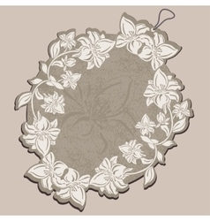 Price tag beige with floral patterns vector