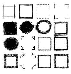 Hand-drawn scribble frames and corners vector
