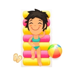 Young girl relaxing on a swim mattress vector