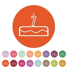Cake with candles in the form of number 7 icon vector