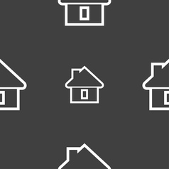 House icon sign seamless pattern on a gray vector