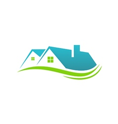 House roof realty abstract eco logo vector