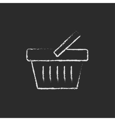 Shopping basket icon drawn in chalk vector