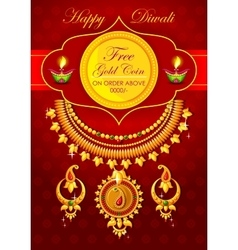 Happy diwali jewelery promotion background with vector