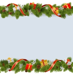 Christmas border with gifts vector