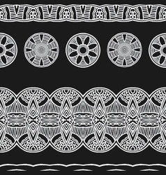 White line black background ethnic mexical peru vector