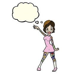 Cartoon woman with tattoos with thought bubble vector